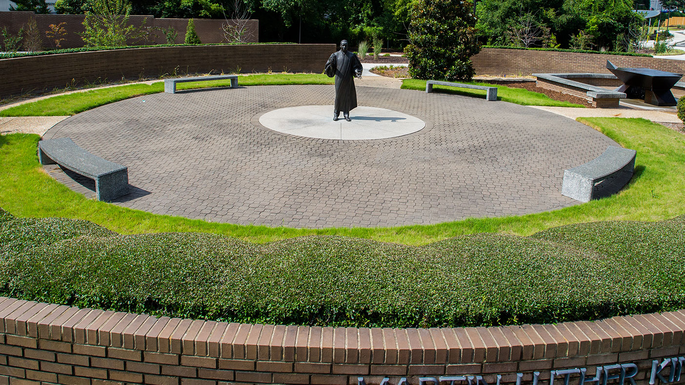 Dr. King's statue faces north so it can be seen by pedestrians when entering the gardens from the surrounding street corners.