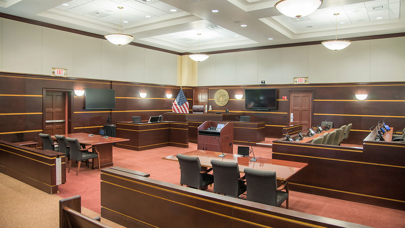 The building structure and courtroom were designed to reflect the importance and dignity of the court-martial process and other legal proceedings conducted at the North Carolina military base.