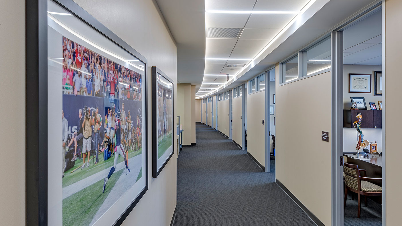 The curved corridors allow for ease of flow throughout the space.