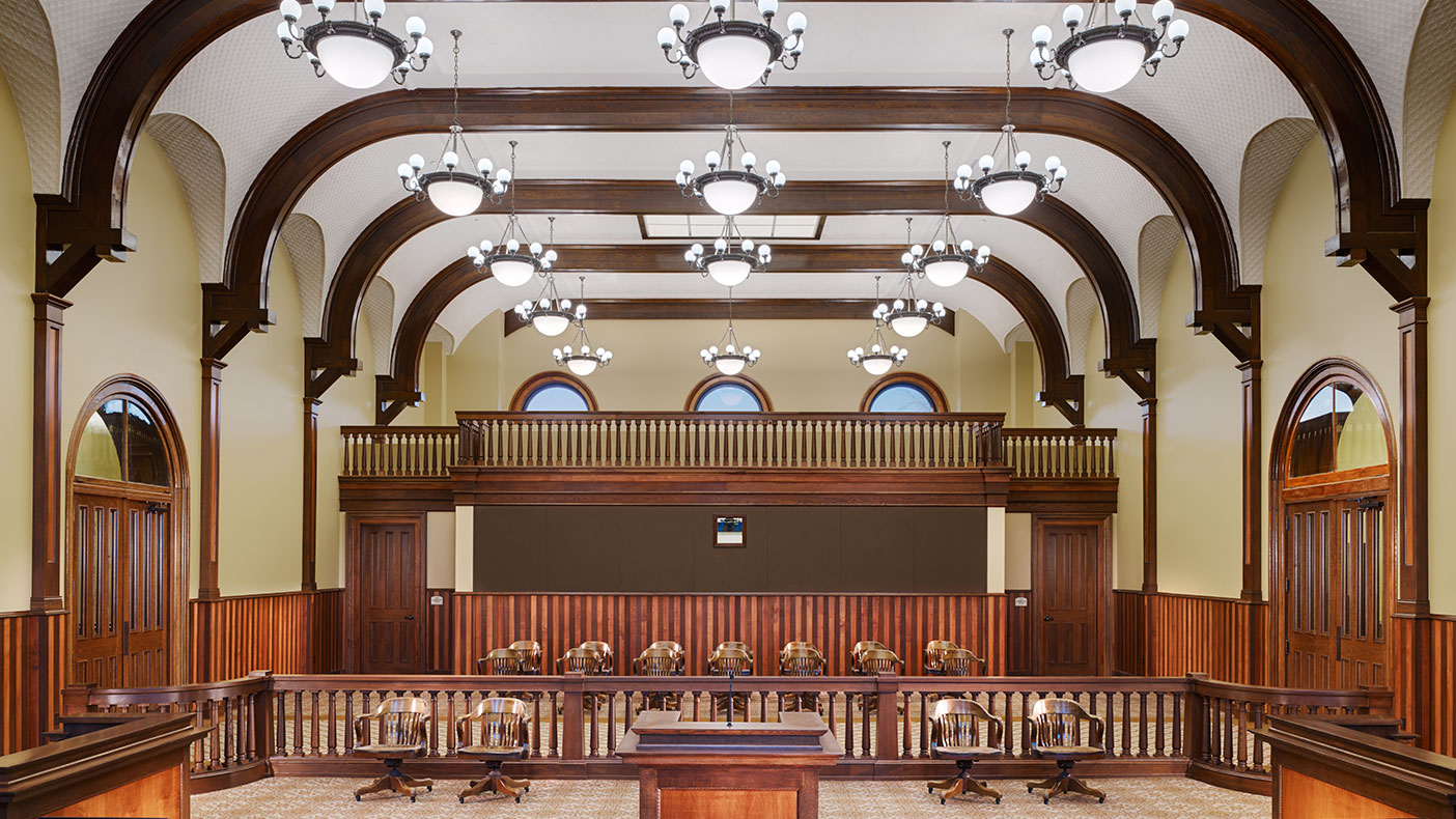 Primary improvements included new building systems, compliance with ADA and life safety codes, and restoring the original courtroom to serve as the County Board room.