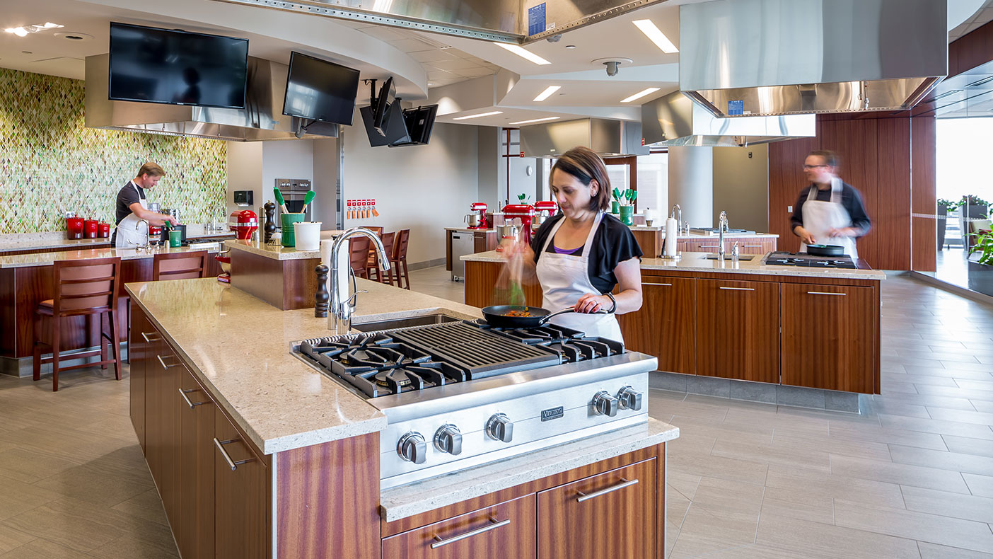 The teaching kitchen offers culinary classes and cooking demonstrations.