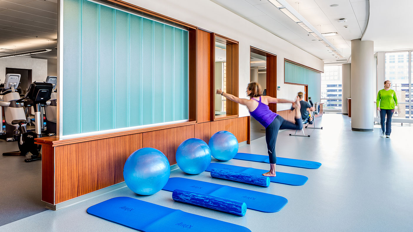 Spaces include swimming, aerobics, and strength training areas; education and research facilities; classrooms; a library; resource areas; and a meditation room.
