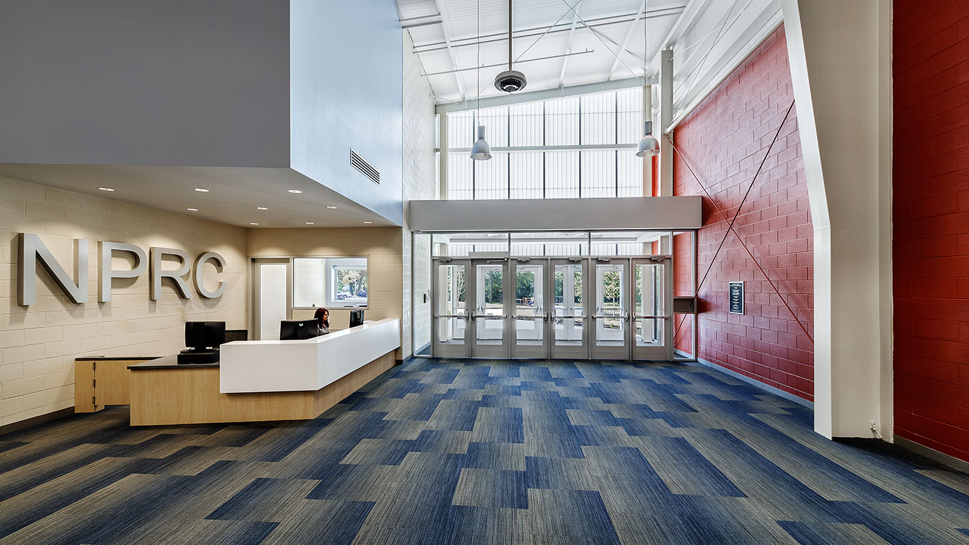 Translucent wall panels were used to provide diffused natural light into the public spaces.
