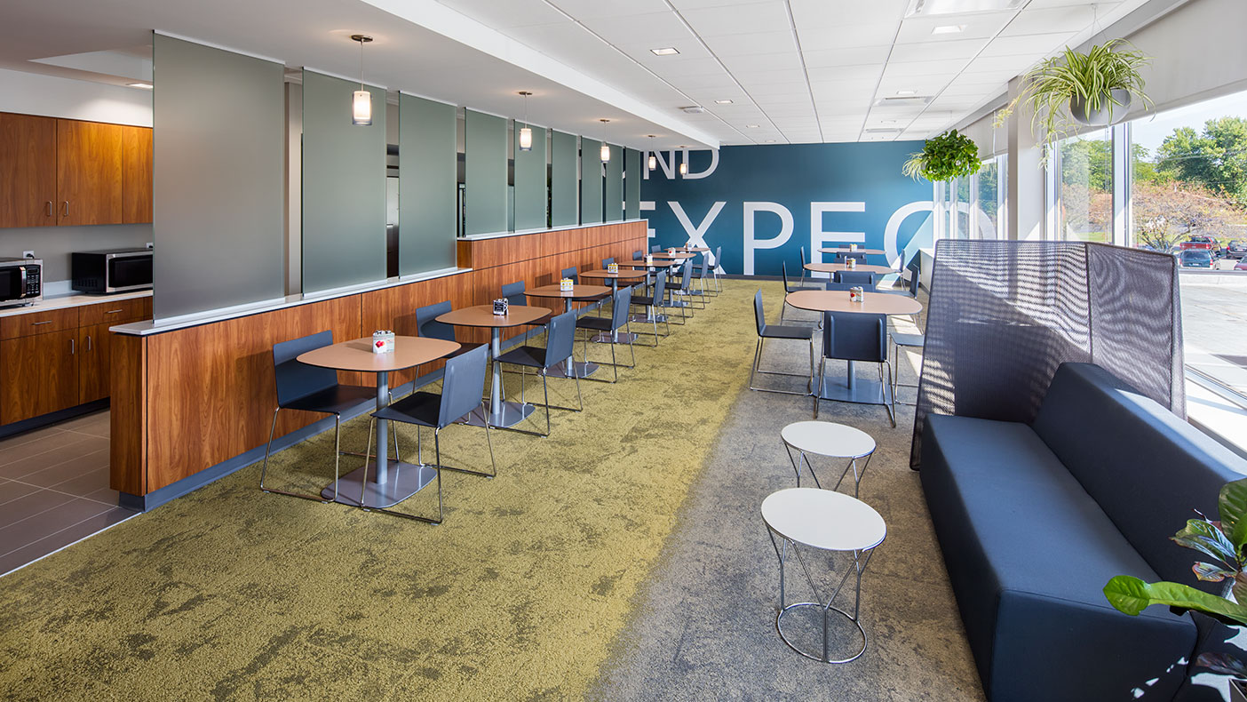 A new work café was included in the design.