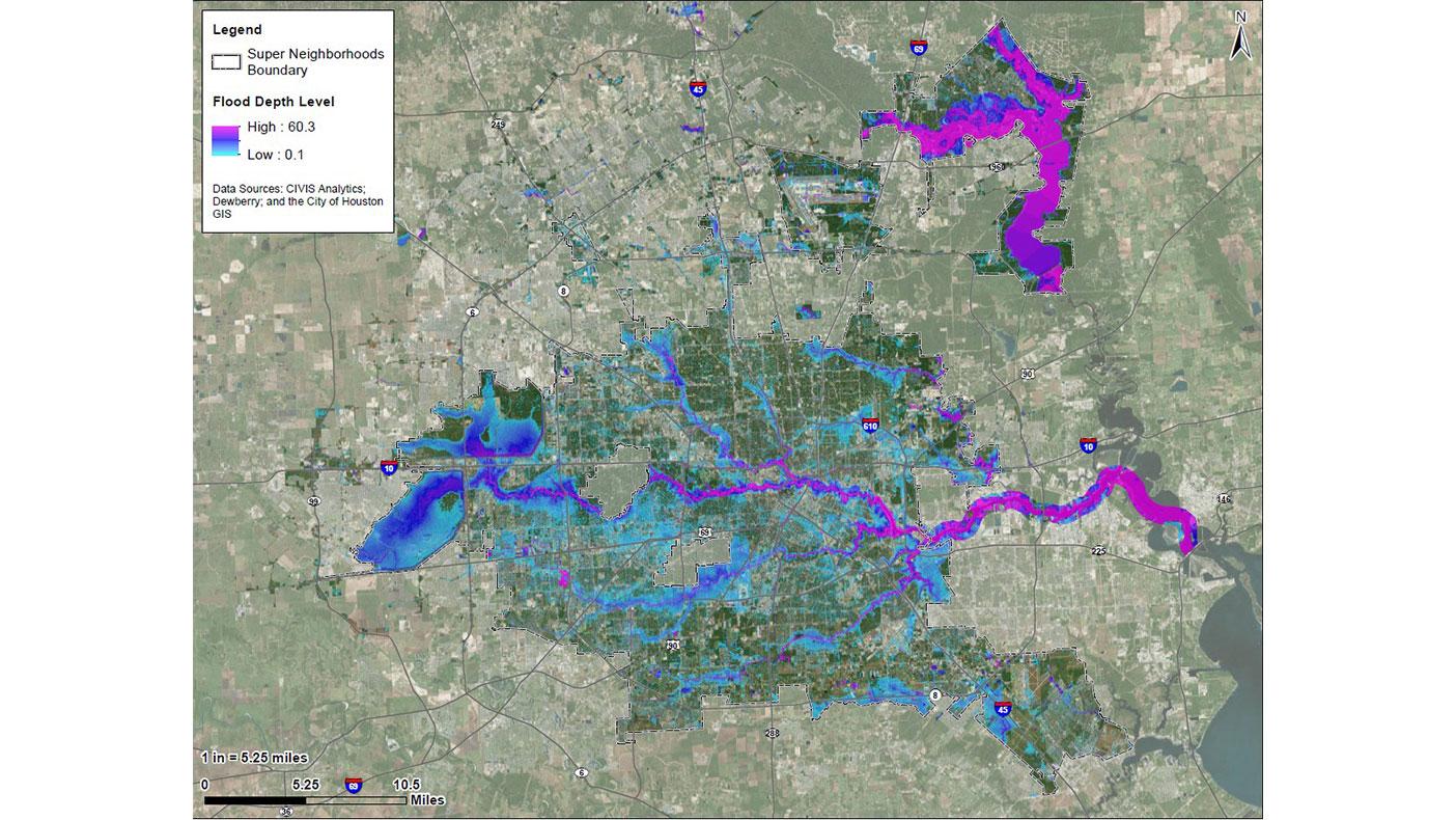 Hurricane Harvey flood model showing peak flood depths across the City of Houston.