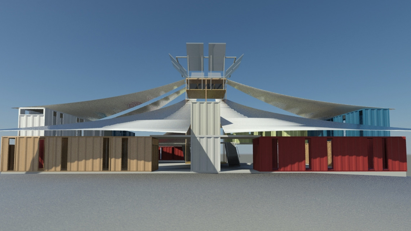 The RPD concept uses cargo containers as a fundamental building component, and can be stacked in a conventional arrangement with canvas tenting covering open areas.