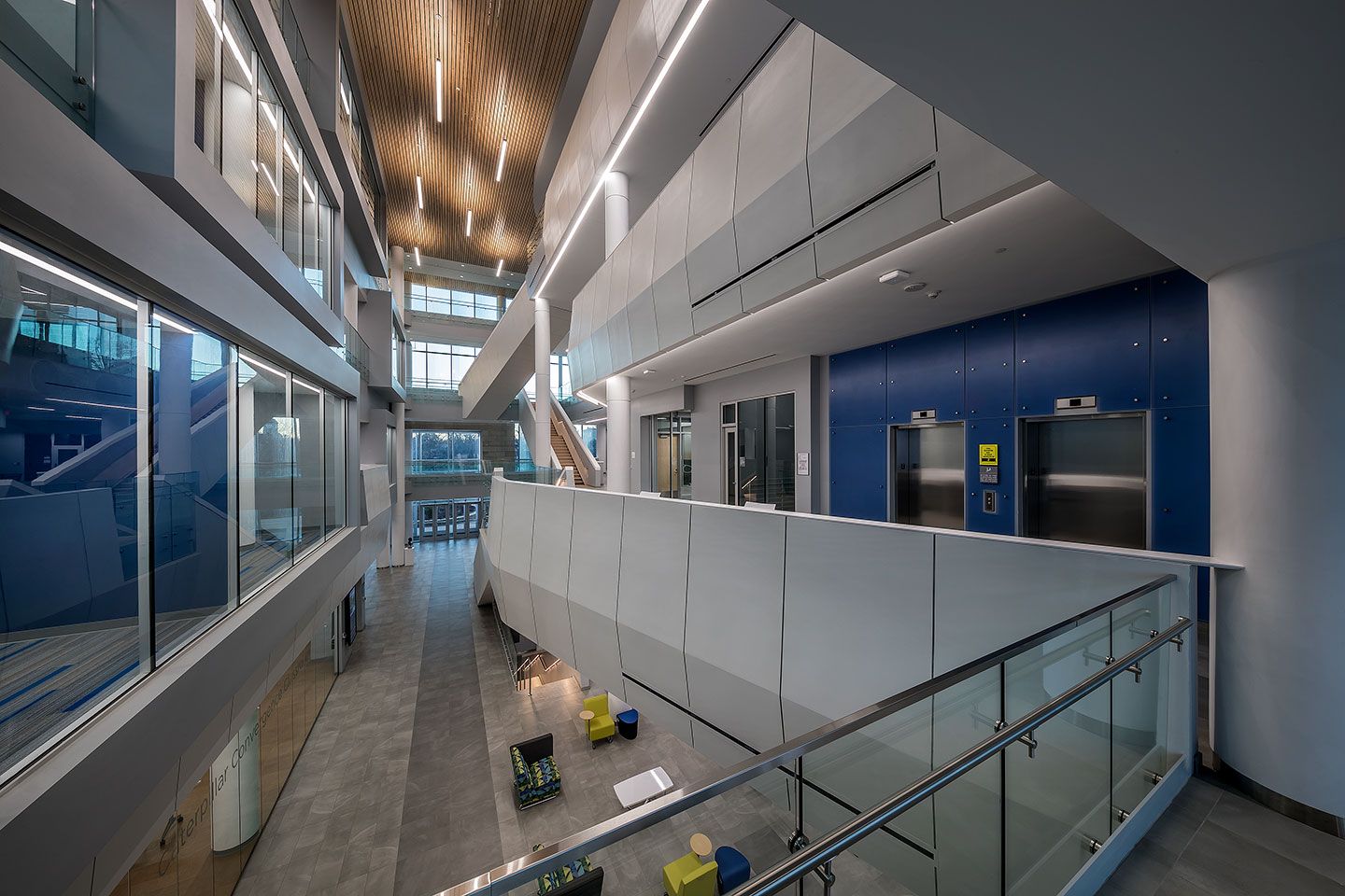 Designed to combine the College of Business and the College of Engineering into a shared facility, the new Bradley University Convergence Center allows each college to maintain separate identities, while sharing common support functions.