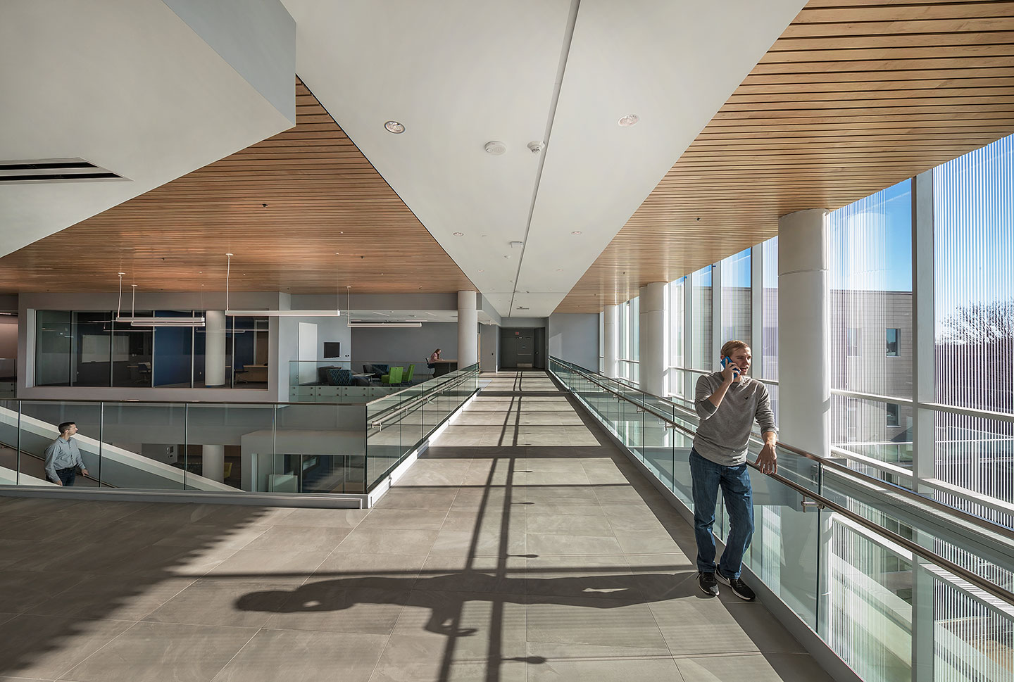 The building's interior soaks in natural daylight through its transparent south façade and sun control systems. A 3D sun diagram helps the owner identify various strategies for solar control on the west, south, and east sides.